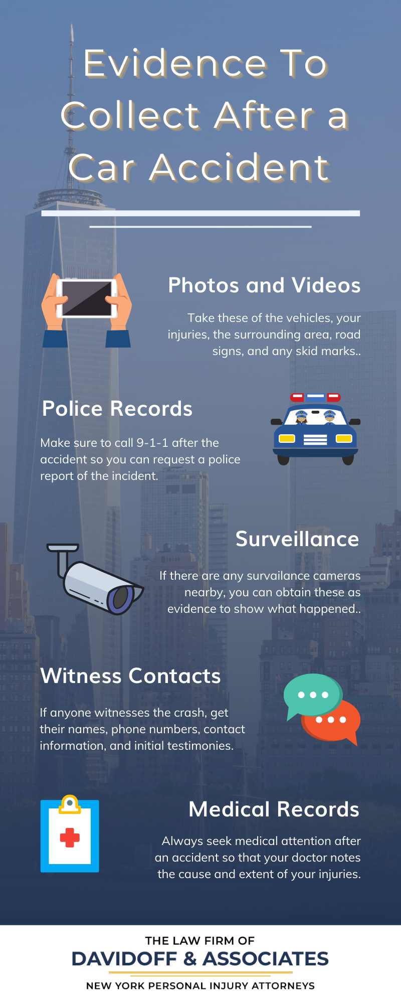 Infographic: Evidence to Collect After a Car Accident. Photos & Videos. Police Records. Surveillance. Witness Contacts. Medical Records.